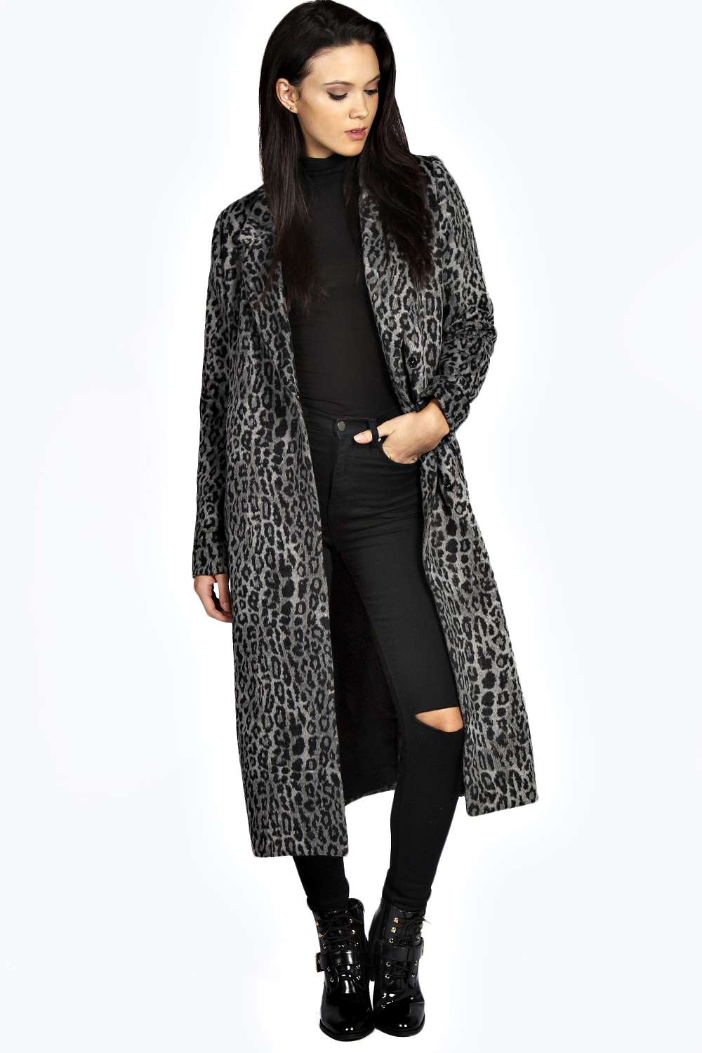 Boohoo Womens Sarah Leopard Print Maxi Coat Long Sleeves Collared ...