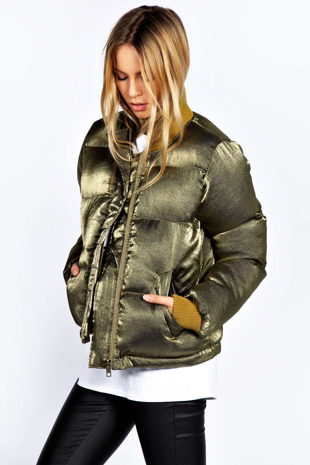 Boohoo-Womens-Ladies-Mila-Metalic-Shine-Puffa-Bomber
