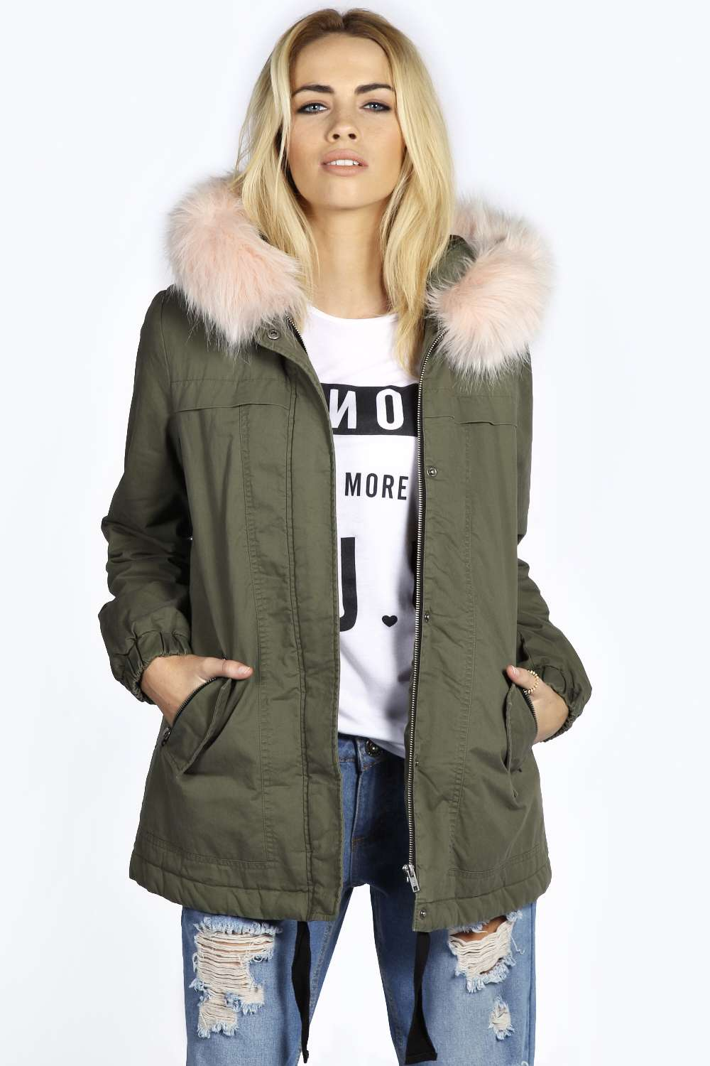 Boohoo Womens Ladies Edy Cotton Pink Faux Fur Trim Luxe Parka ...