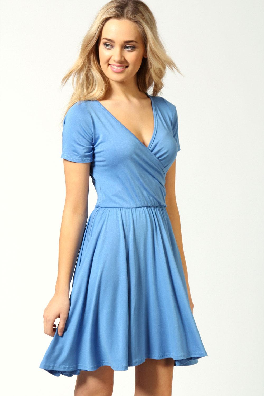 Boohoo-Womens-Ladies-Asheley-Wrap-Over-Cap-Sleeve-Skater-Dress