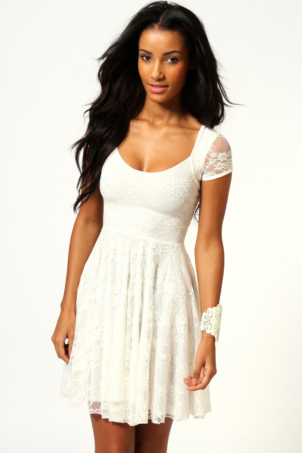 Boohoo-Caroline-Cap-Sleeve-Lace-Skater-Dress
