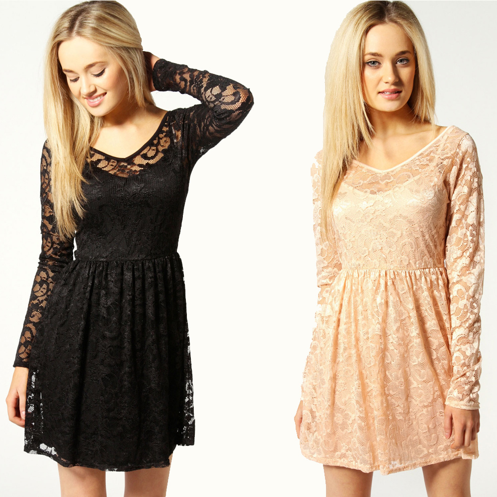 Displaying 19> Images For - Skater Dress With Sleeves...