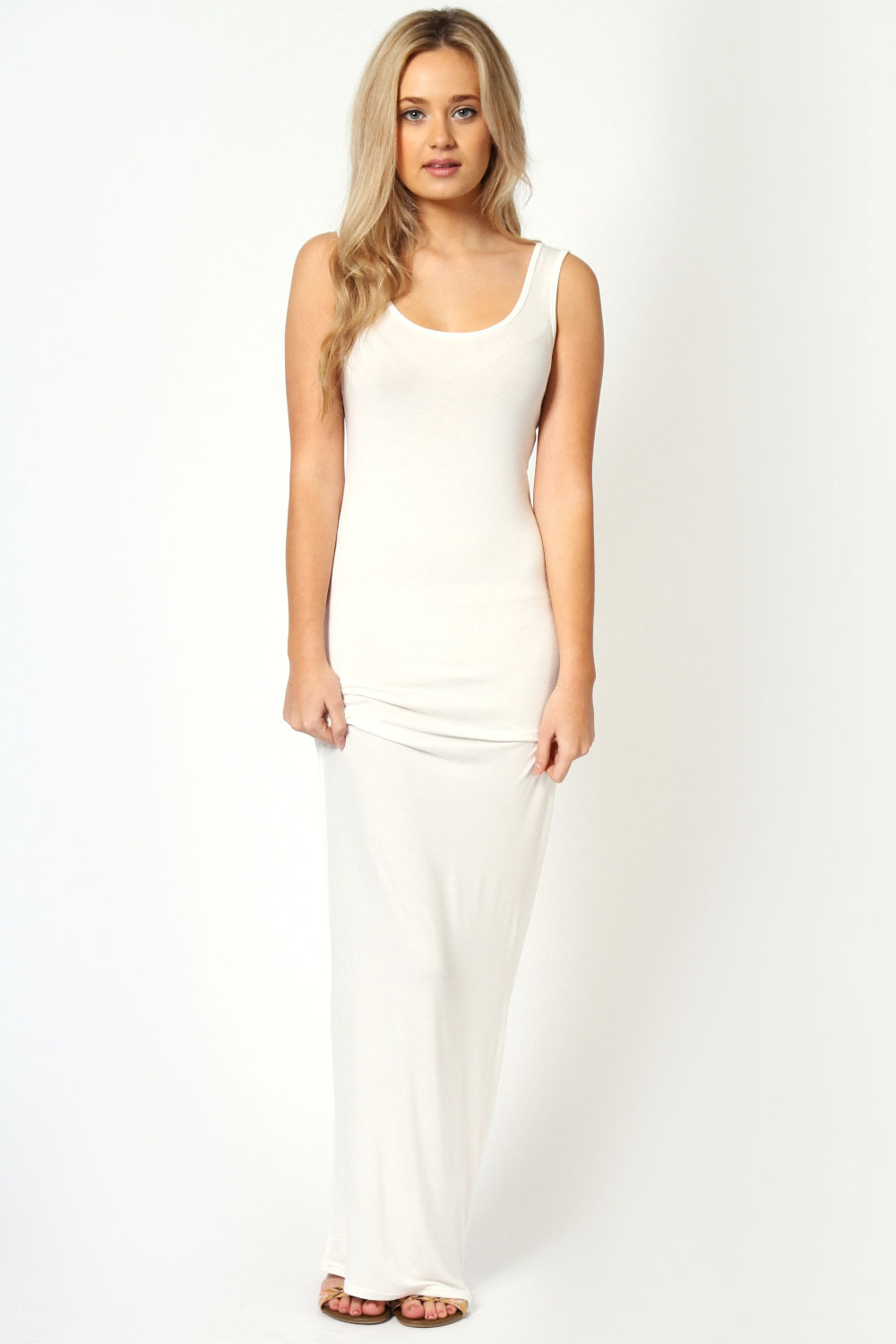 Boohoo-Womens-Ladies-Sandy-Scoop-Neck-Maxi-Full-Length-Sleeveless-Dress