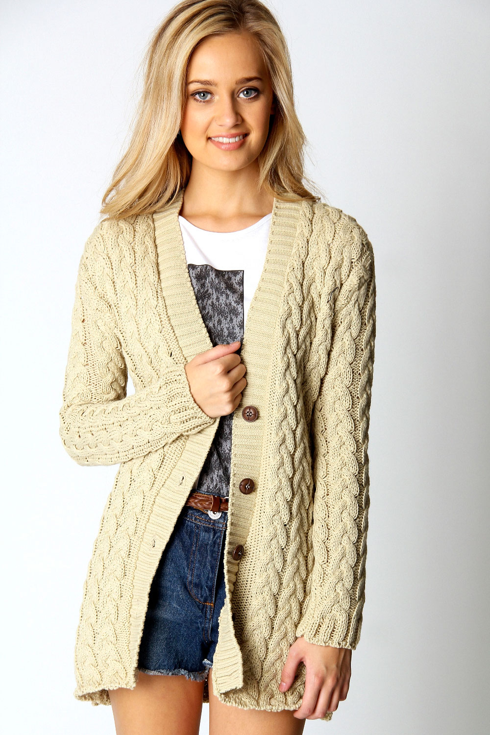 Boohoo Lucy Cable Knit Long Sleeve Hip Length Cardigan eBay