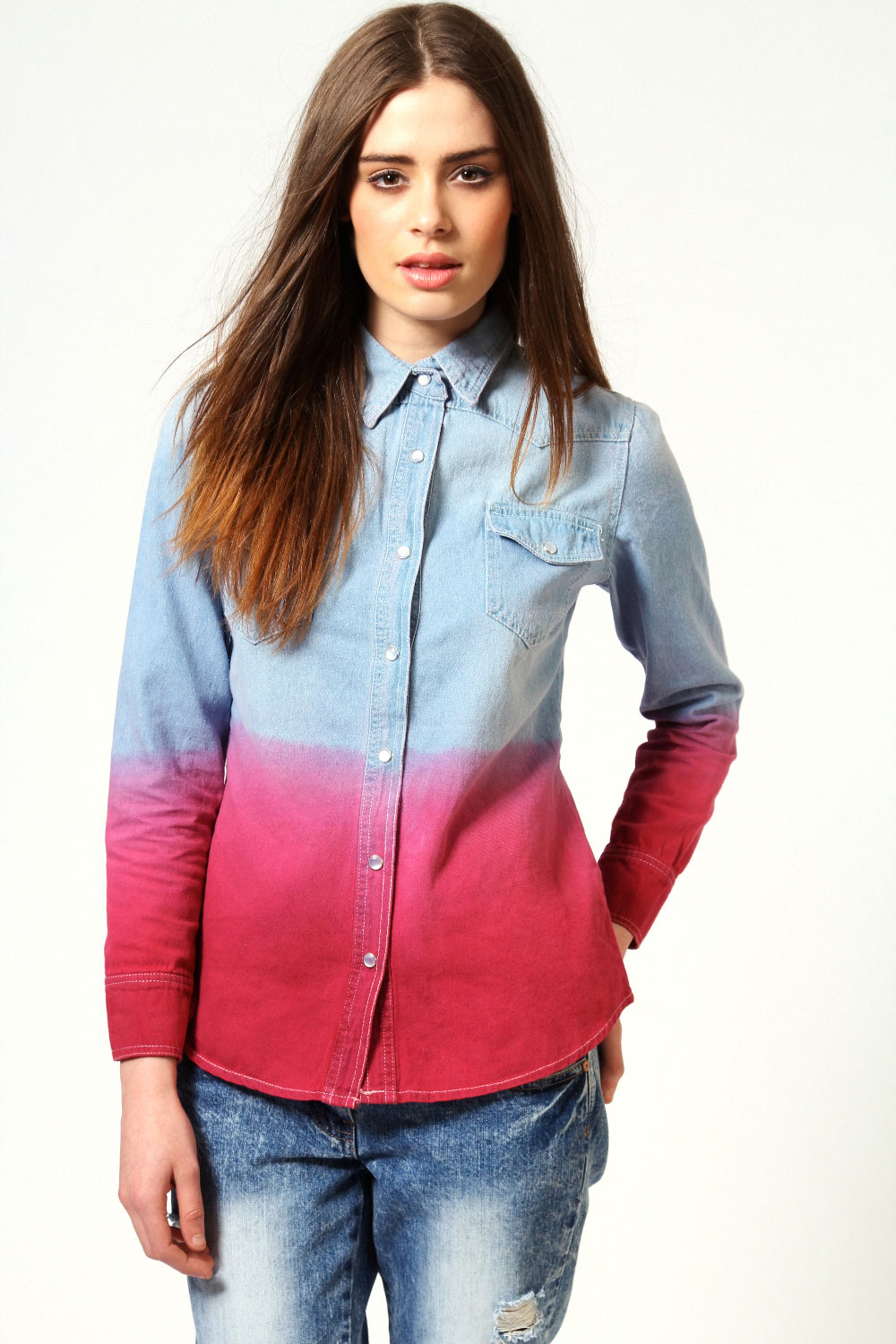 5c9f867bd75 Image is loading Boohoo-Kelly-Long-Sleeve-Ombre-Denim-Button-Up-