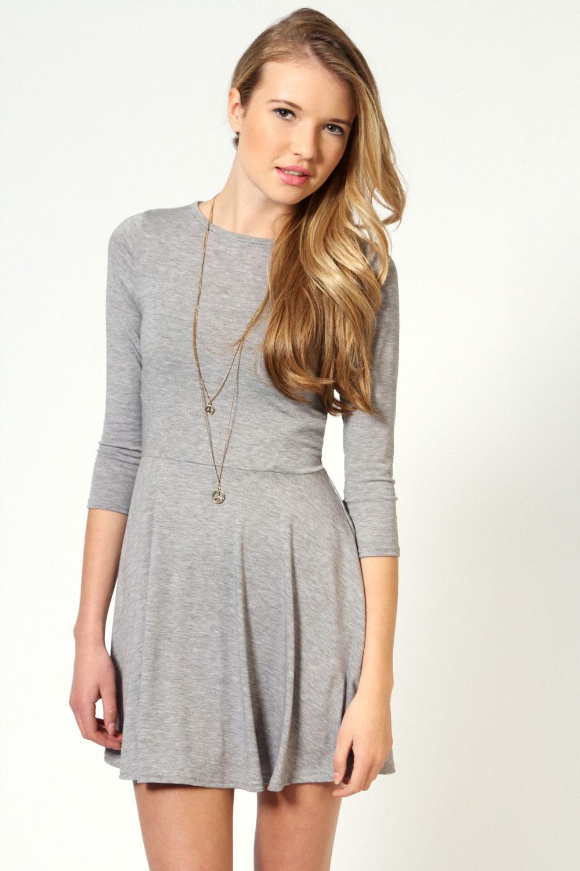 Boohoo Womens Ladies Sara Long Sleeve Viscose Skater Dress | eBay