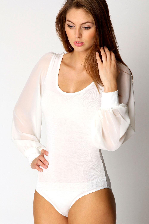 Boohoo-Womens-Ladies-Allie-Chiffon-Long-Sleeve-Bodysuit- - Boohoo Womens Ladies Allie Chiffon Long Sleeve Bodysuit Blouse EBay