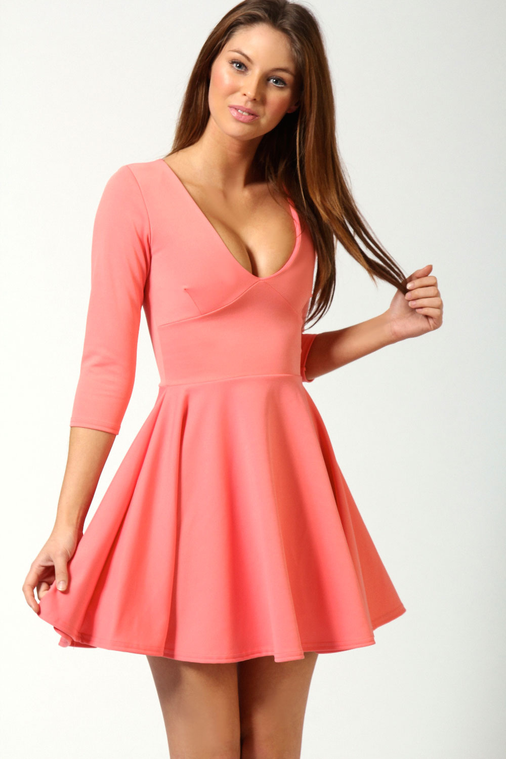 Boohoo Sacha Long Sleeve V Neck Short Skater Dress | eBay