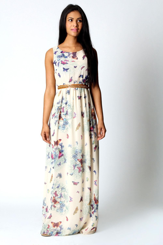 Boohoo Fionna Schmetterling Print R 252 Ckenfrei Maxi Kleid Ebay