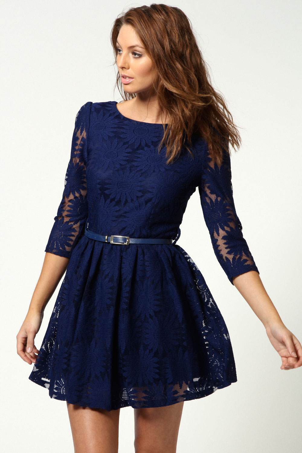 Boohoo Ruth All Over Zip Back Long Sleeve Lace Skater Dress