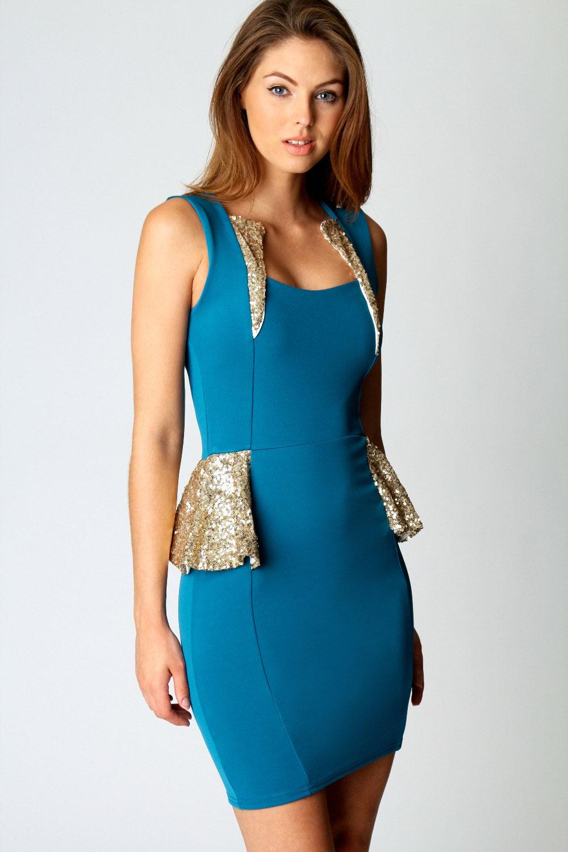 Boohoo Womens Ladies Hayley Sequin Trim Detail Sleeveless Peplum ...