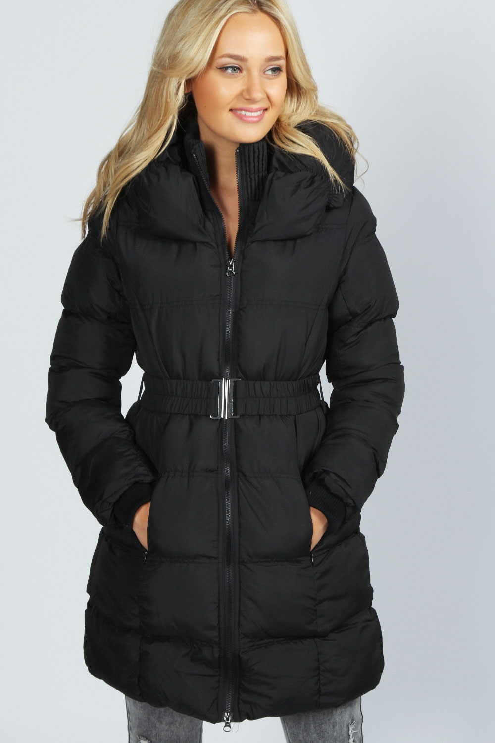 Boohoo Carrie High Neck Belted Padded Coat In Black | eBay