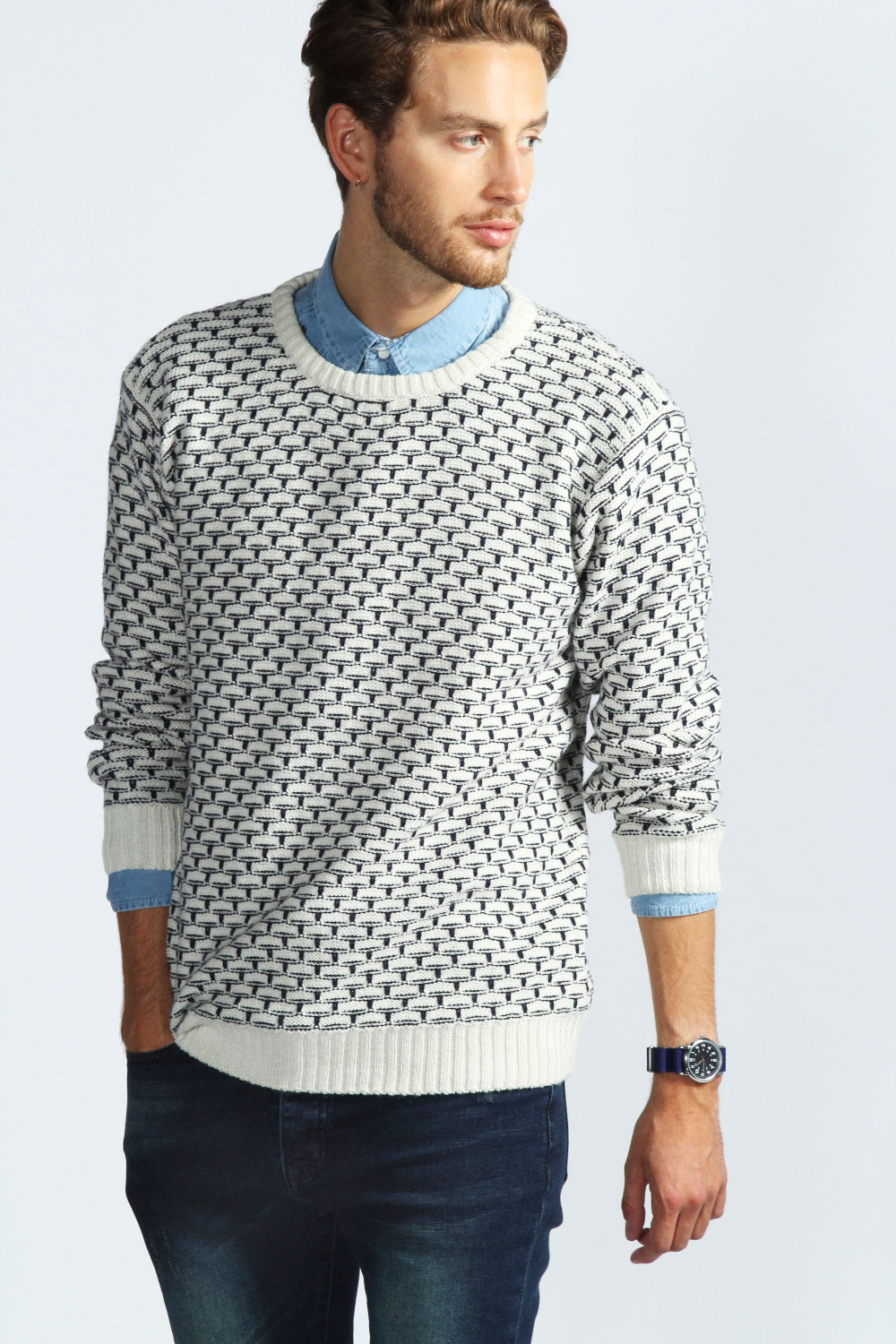 Boohoo-Mens-Crew-Drop-Stitch-Jumper-In-Ecru