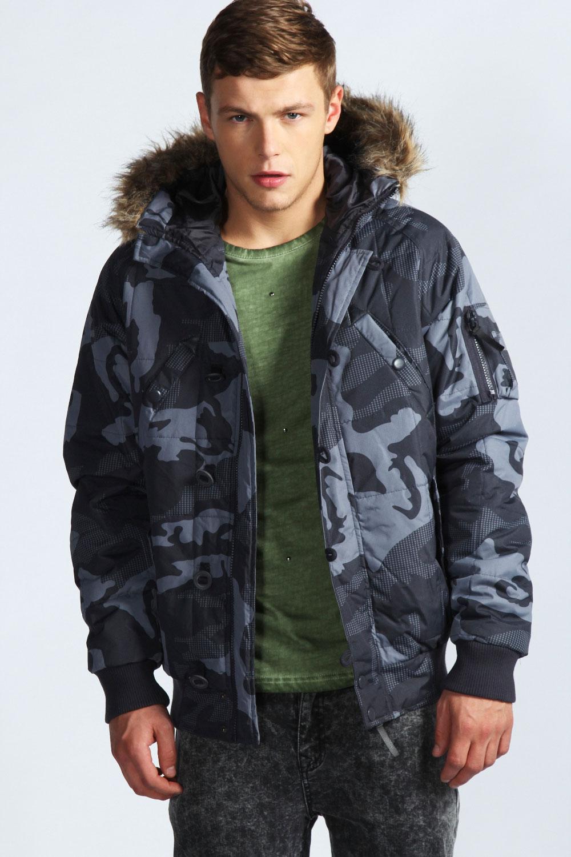 Boohoo-Mens-Camo-Ripstop-Puffa-Jacket-In-Charcoal