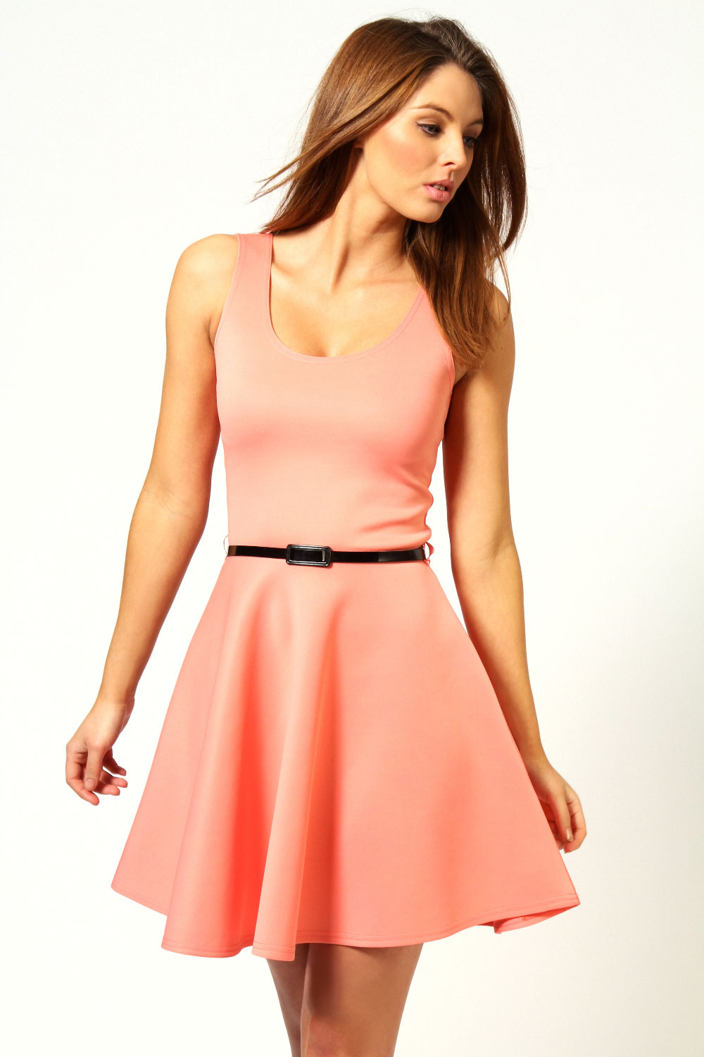 Boohoo-Womens-Ladies-Maya-Scoop-Neck-Skater-Dress