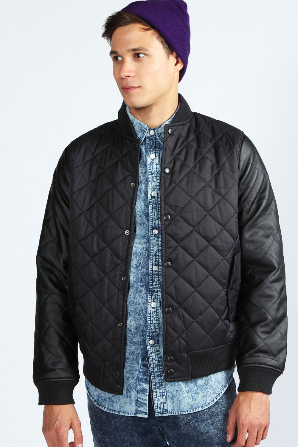 Boohoo-Mens-Quilted-Pu-Sleeve-Baseball-Jacket-In-Black