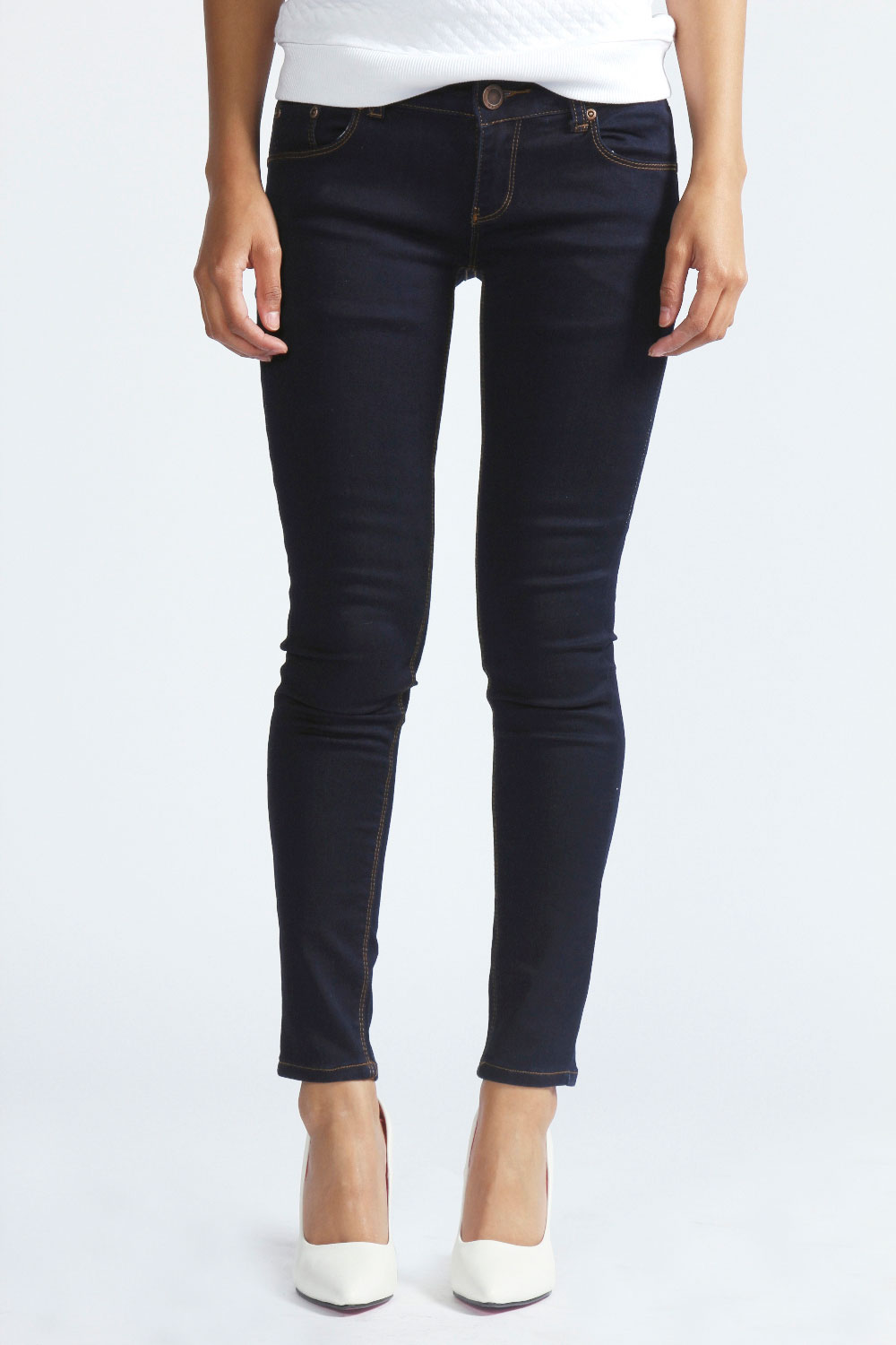 boohoo faith 7 8 skinny fit ankle grazer jeans in indigo. Black Bedroom Furniture Sets. Home Design Ideas