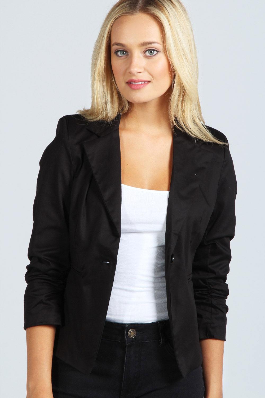 Leather jacket boohoo - Boohoo Womens Ladies Elodie Ruched Sleeve Blazer