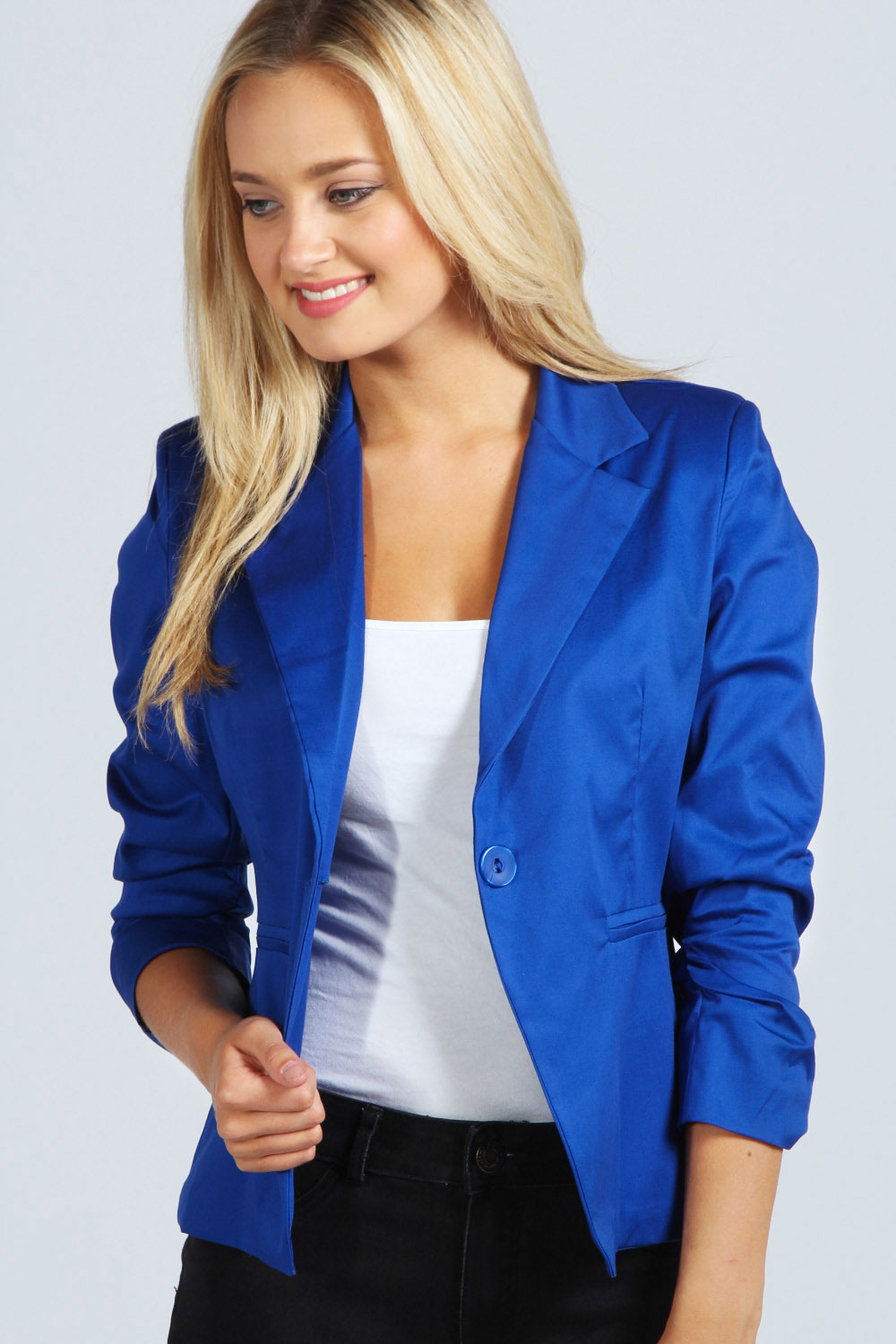 Boohoo Womens Ladies Elodie Ruched Sleeve Blazer | eBay