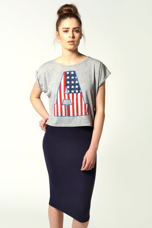 Boohoo Womens Ladies Mindy Calf Length Slim Fit Stretch Midi Skirt