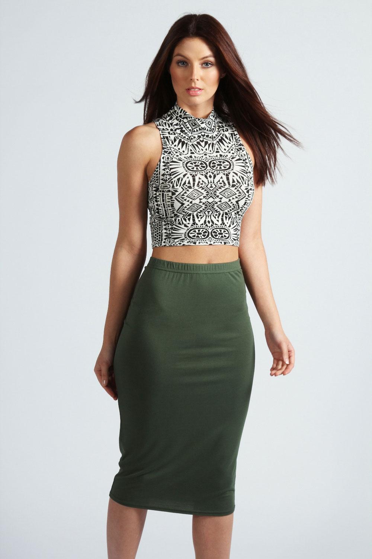 Boohoo Womens Ladies Mindy Calf Length Slim Fit Stretch Midi Skirt ...