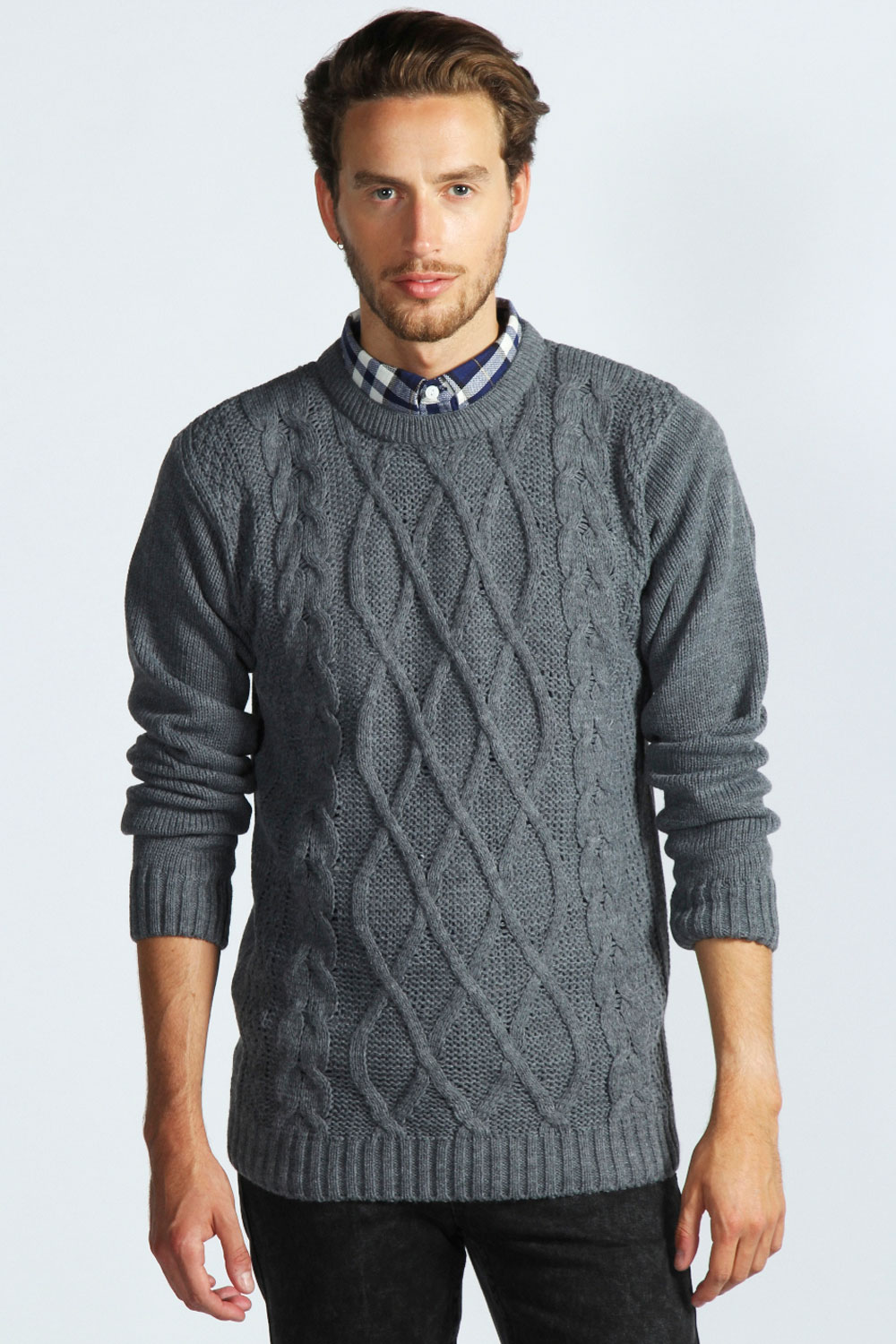 Boohoo-Mens-Cable-Crew-Jumper-In-Charcoal
