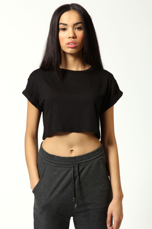 Boohoos Womens Sarah Crop Roll Back Sleeve Tee Ebay