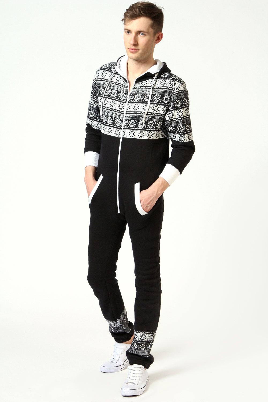 Boohoo mens men 39 s snowflake front zip onesie in black ebay for Mens dress shirt onesie