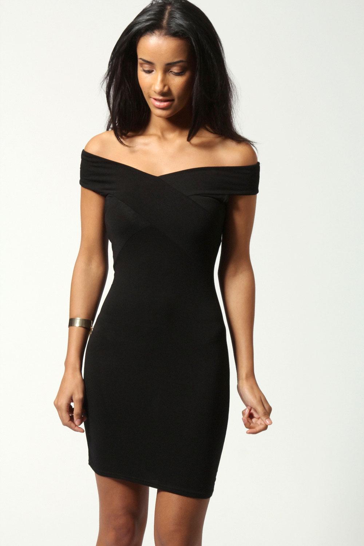 Boohoo Dottie Off The Shoulder Panelled Bodycon Dress | eBay
