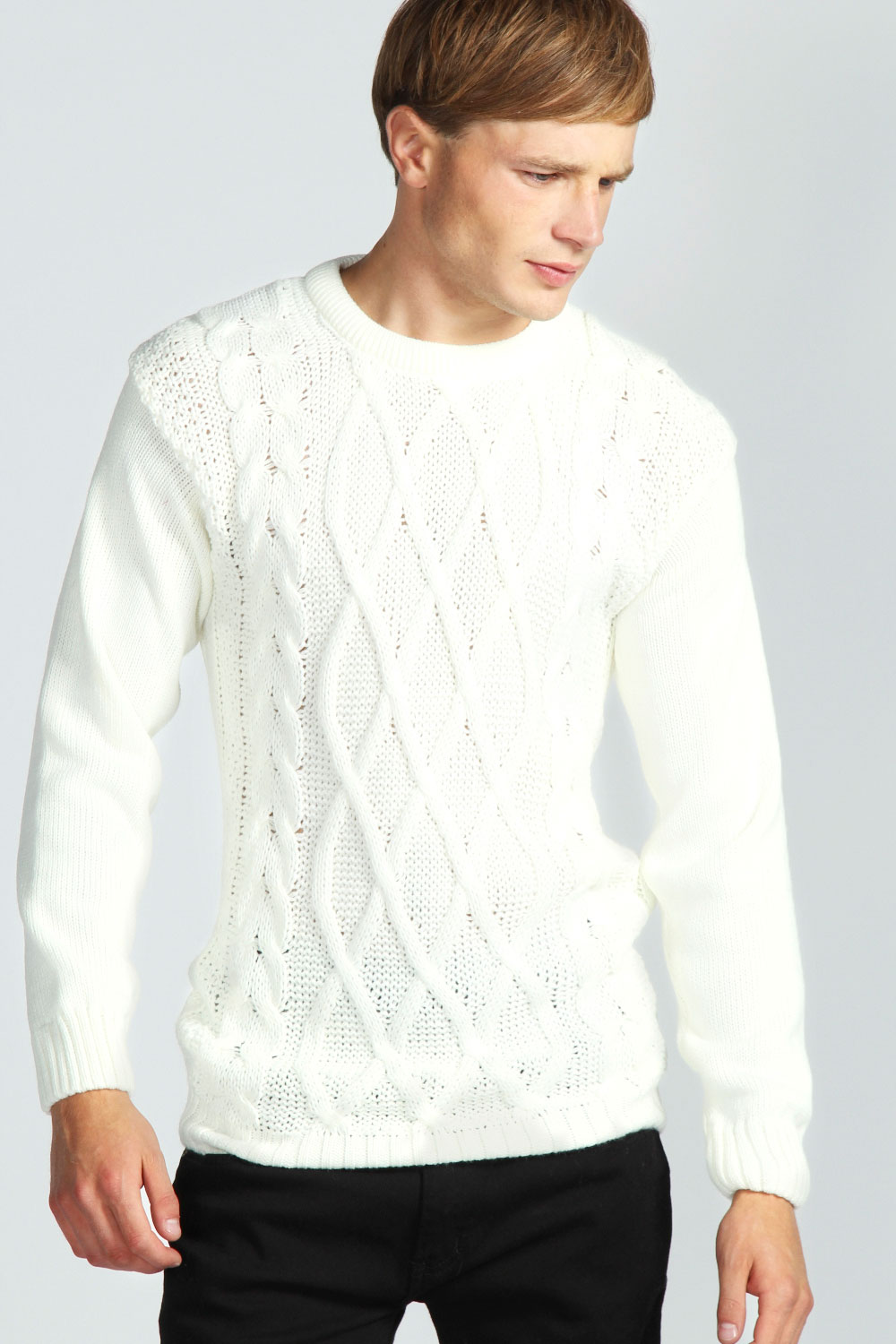 Boohoo-Mens-Cable-Knit-Jumper-In-Cream
