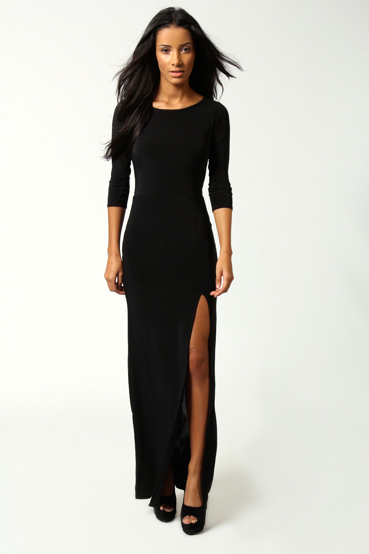 Boohoo-Womens-Ladies-Candice-Side-Split-Slinky-Maxi-Dress