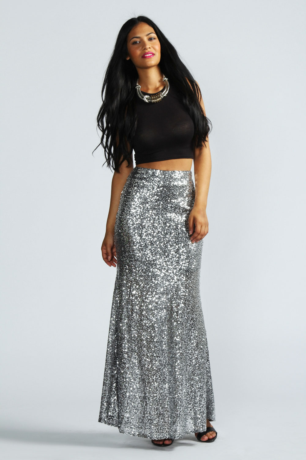 boohoo madeline all sequin maxi skirt in silver ebay