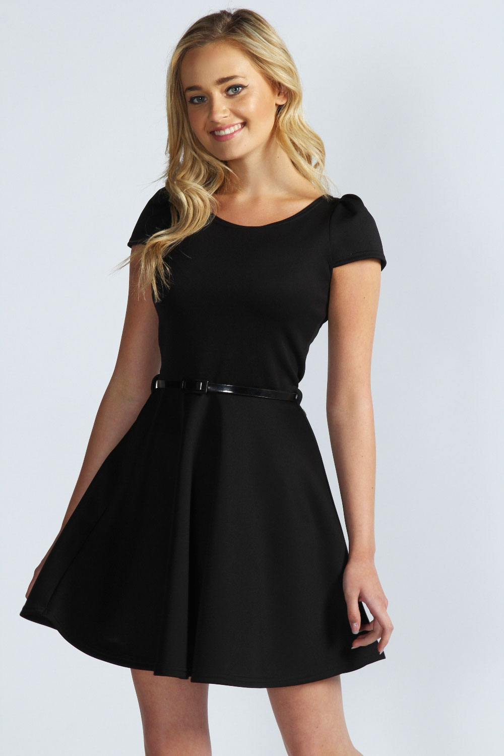 Boohoo Milly Cap Sleeve Belted Skater Dress | eBay