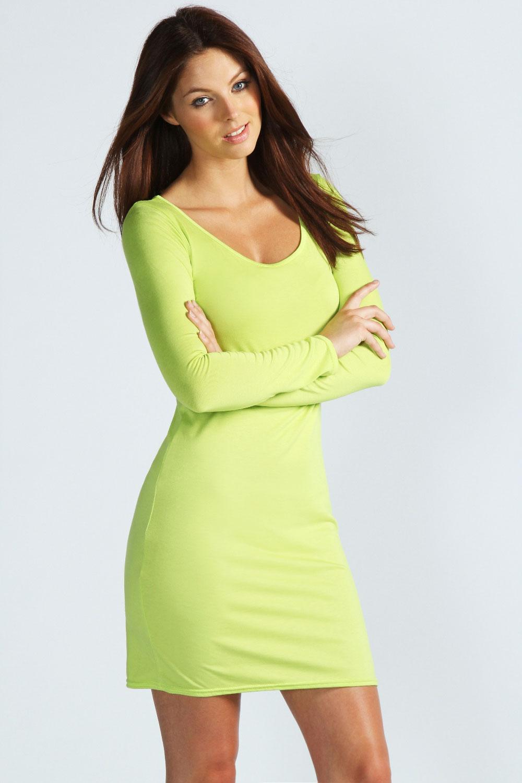 Boohoo-Womens-Ladies-Lucie-Long-Sleeve-Scoop-Neck-Bodycon-Dress