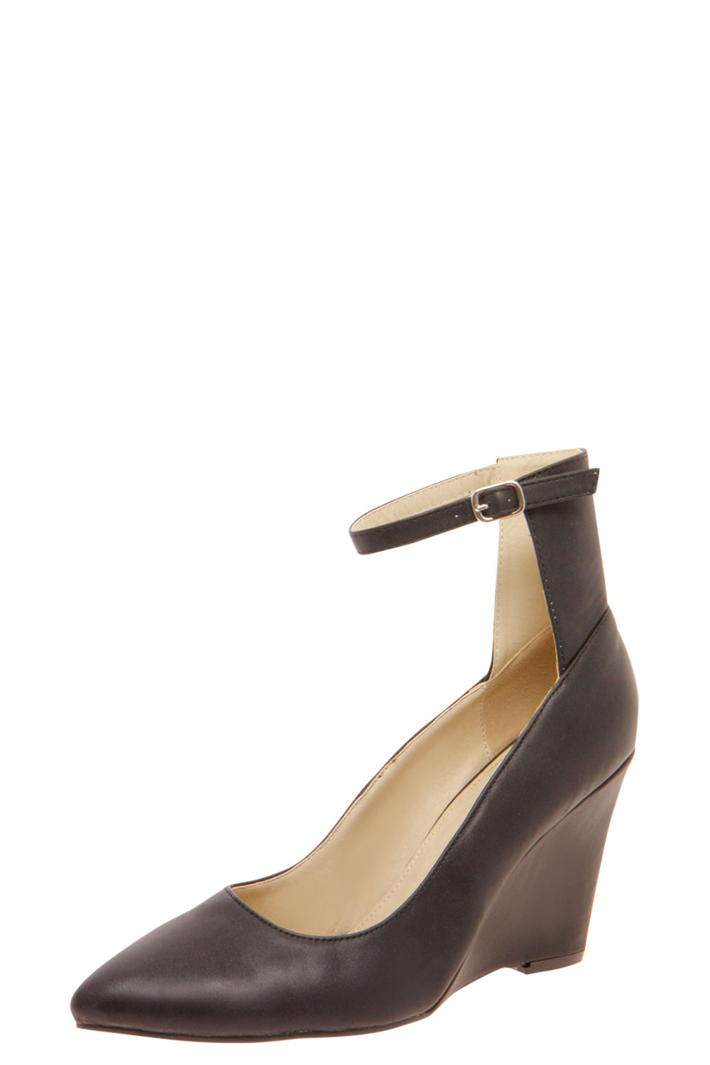 boohoo zarah ankle mid pointed wedge shoes in black