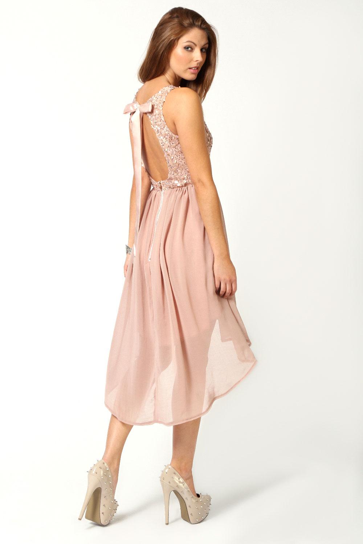 Sleeveless sequin top open back chiffon dip hem dress in blush ebay
