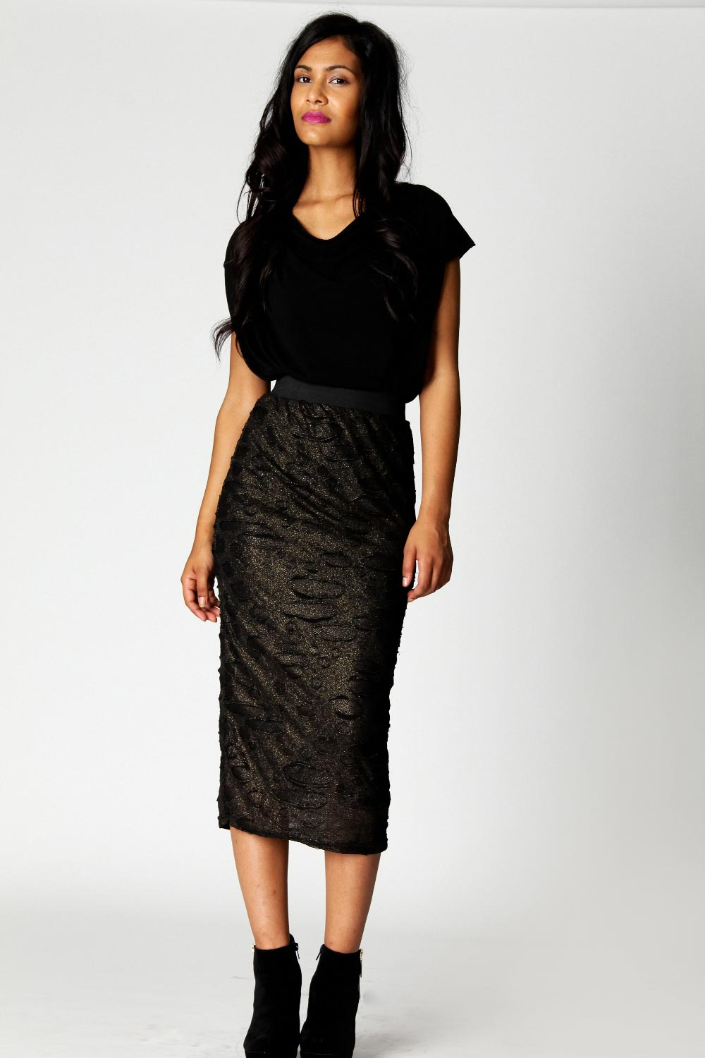 Boohoo-Asha-Lurex-Devoure-Midi-Skirt-in-Gold-BNWT
