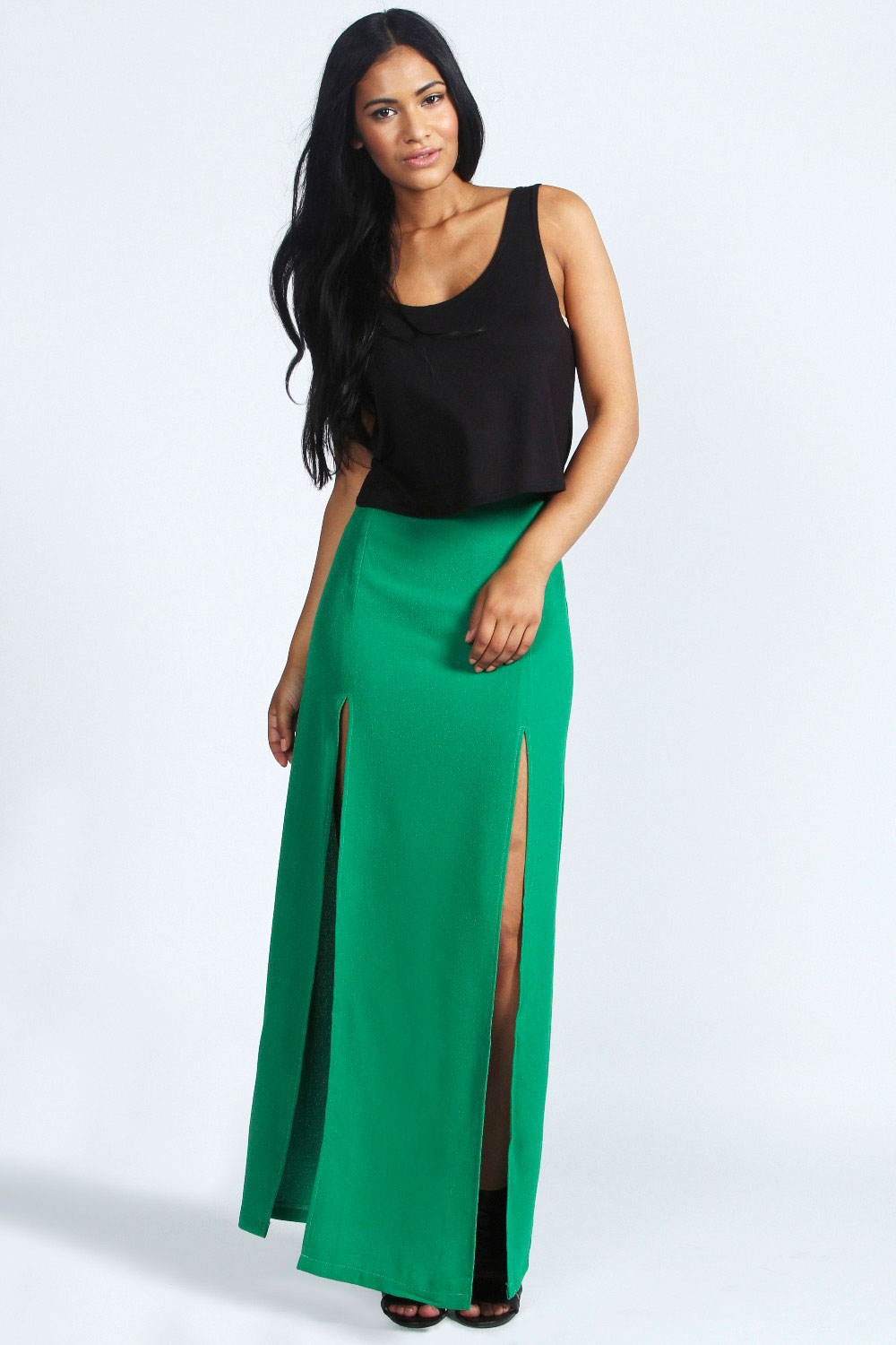 Waisted high maxi skirt with split video