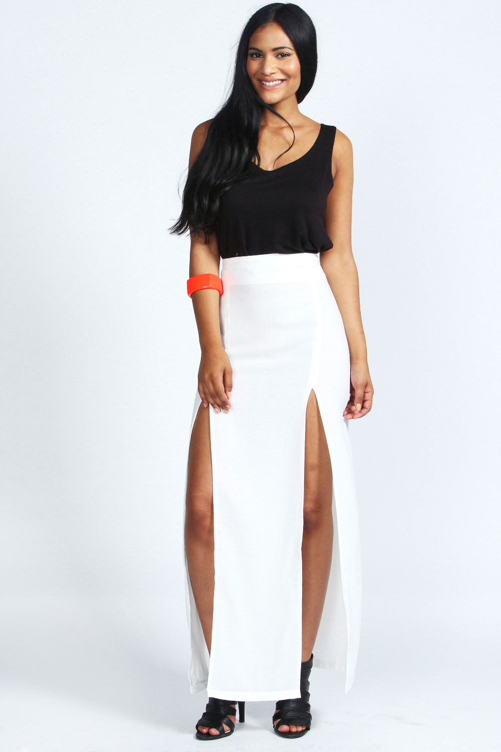 boohoo high waisted split maxi skirt ebay