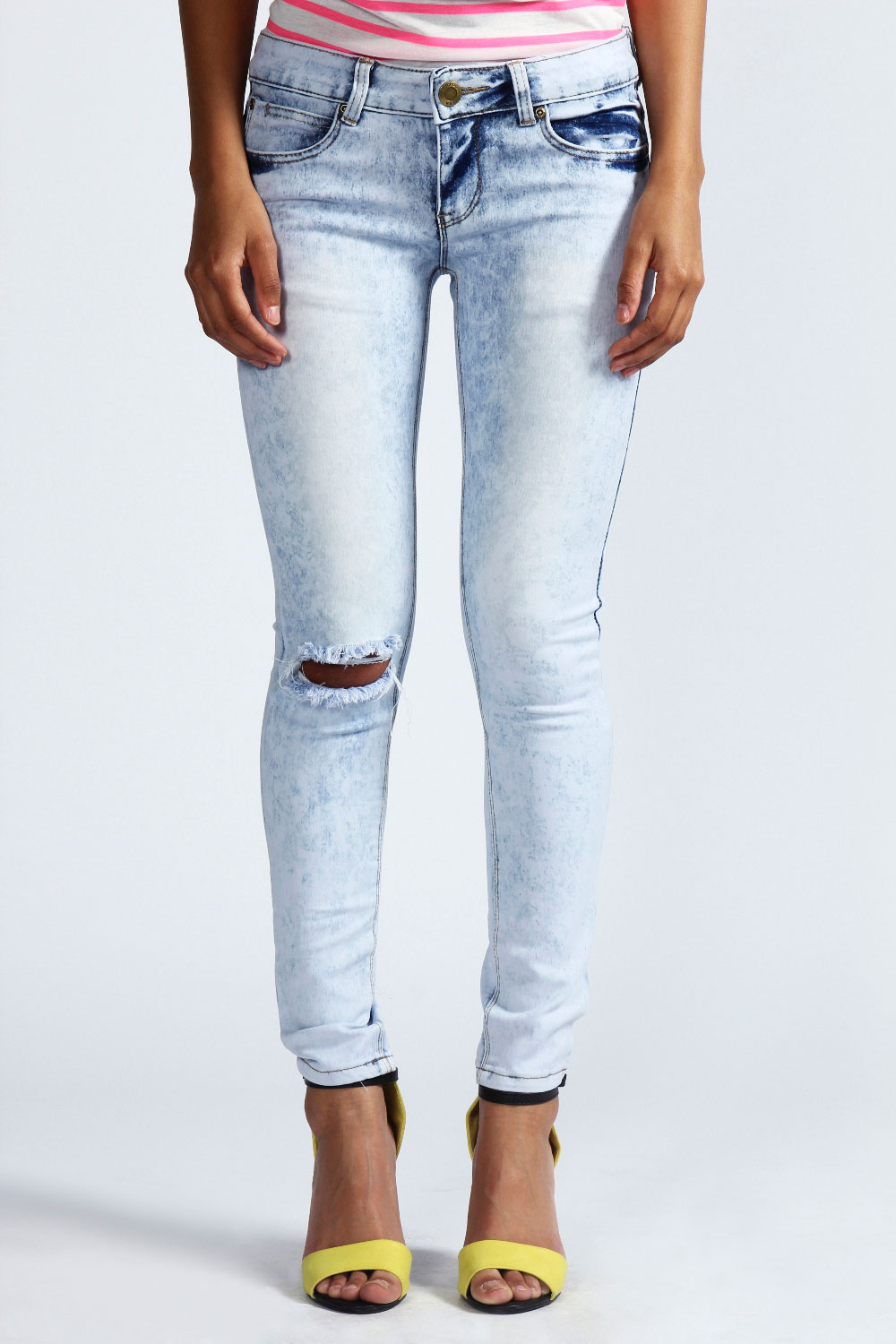 Acid Wash Ripped Skinny Jeans - Jeans Am
