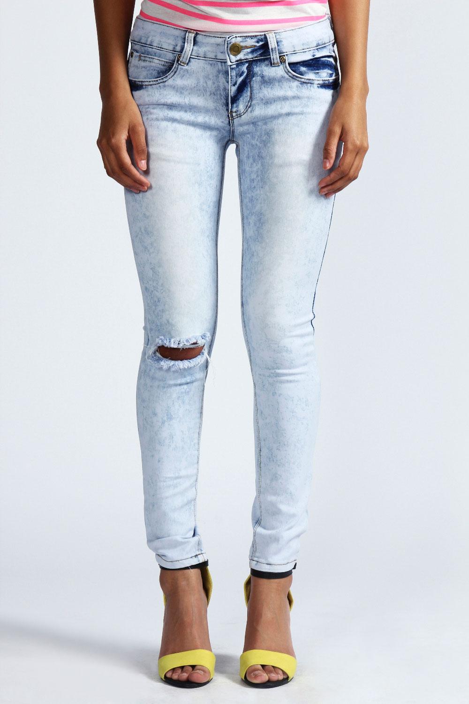Boohoo Loren Ripped Acid Wash Super Skinny Jeans In Blue ...