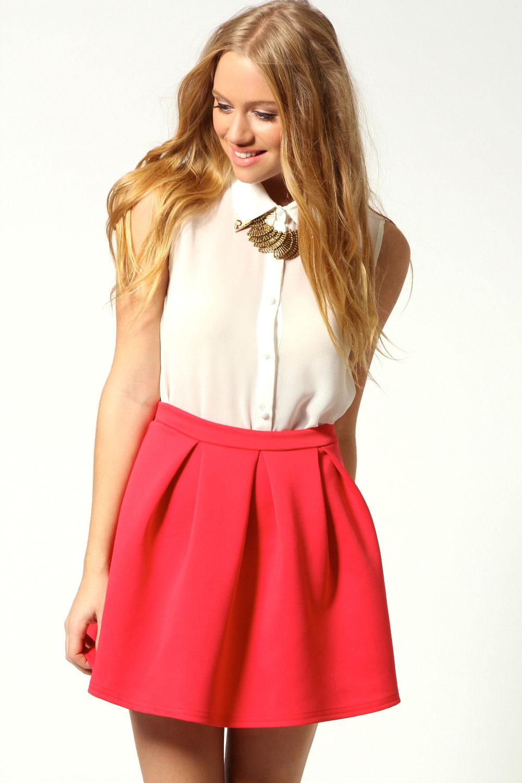 Boohoo-Katie-Box-Pleat-Skater-Skirt