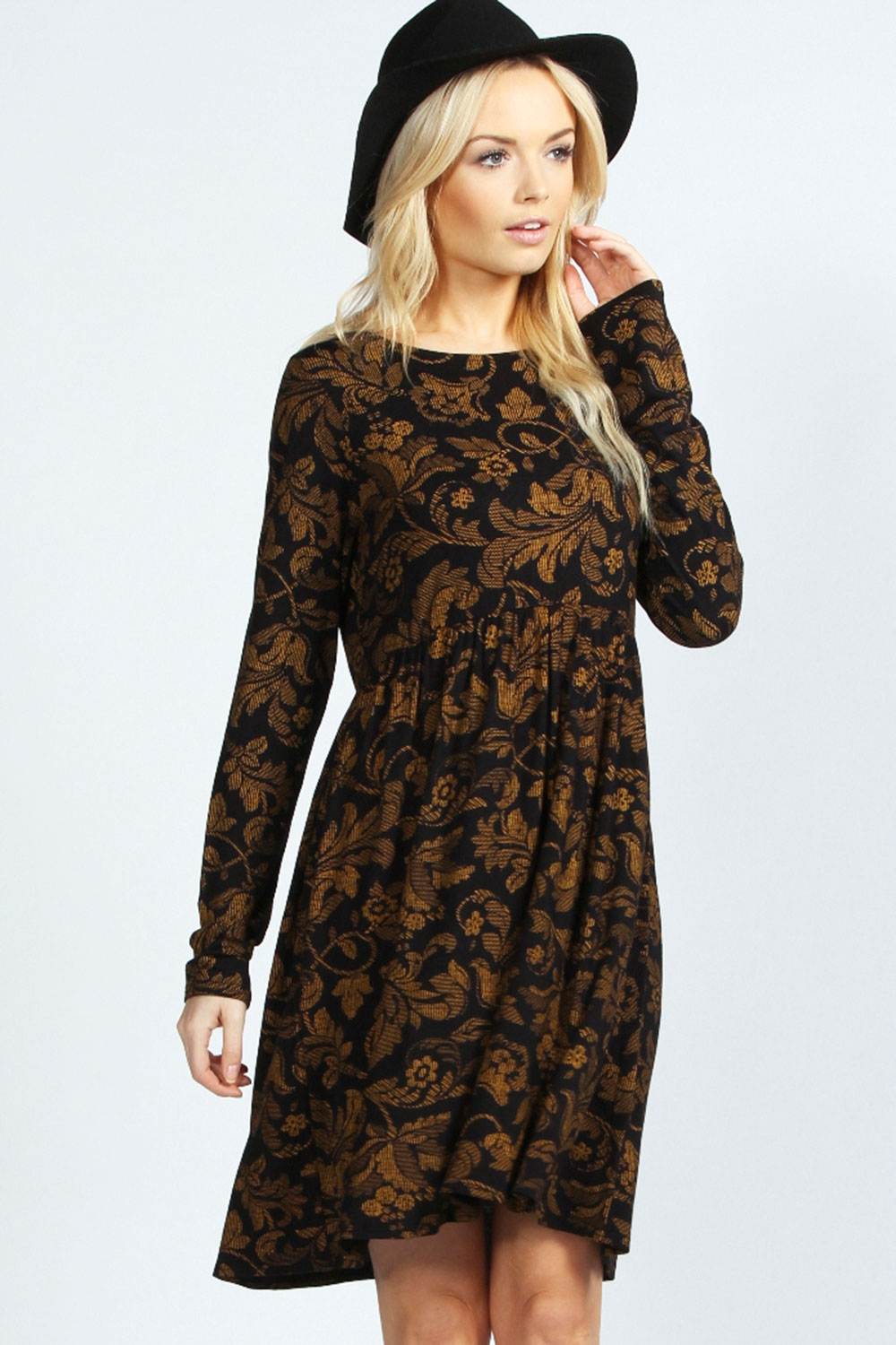 Boohoo-Kylie-Printed-Long-Sleeve-Smock-Dress-In-Black