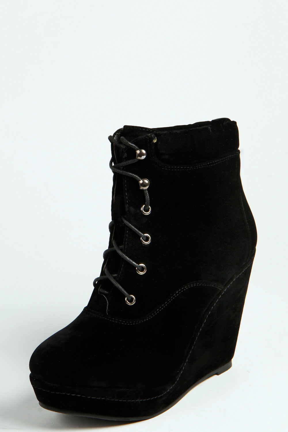 boohoo lace up wedge shoe boots ebay