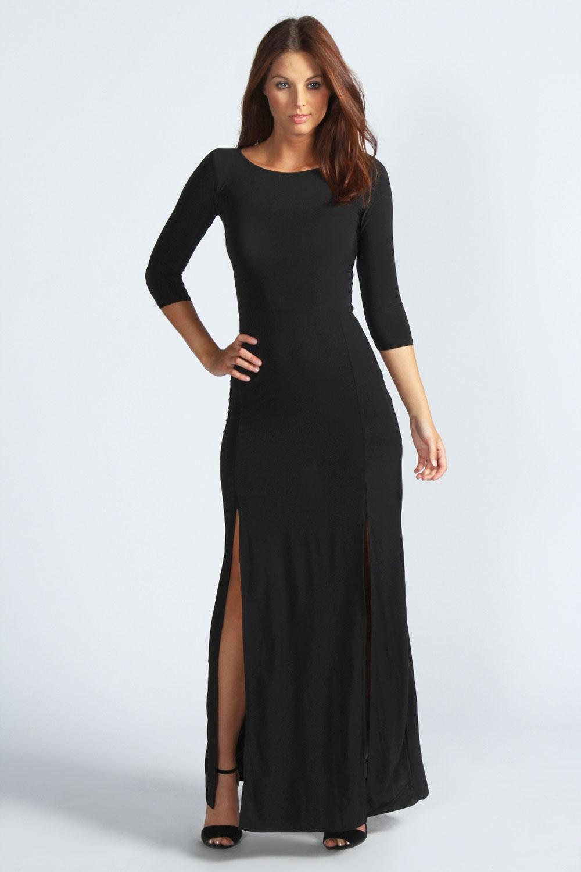 Boohoo Harriet Long Sleeve Double Split Maxi Dress | eBay
