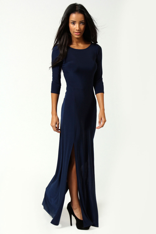 Boohoo Harriet Long Sleeve Double Split Maxi Dress   eBay