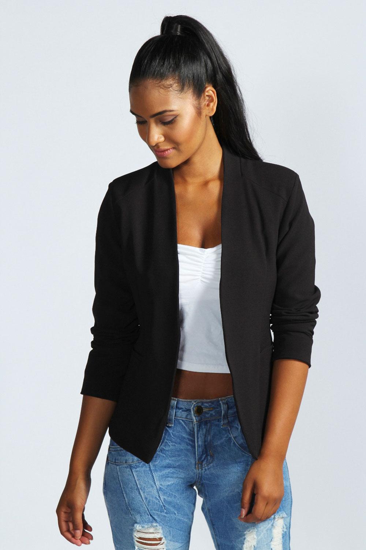 543dbc0ea538 Image is loading Boohoo-Womens-Ladies-Amerie-Collarless-Tailored-Blazer- Jacket