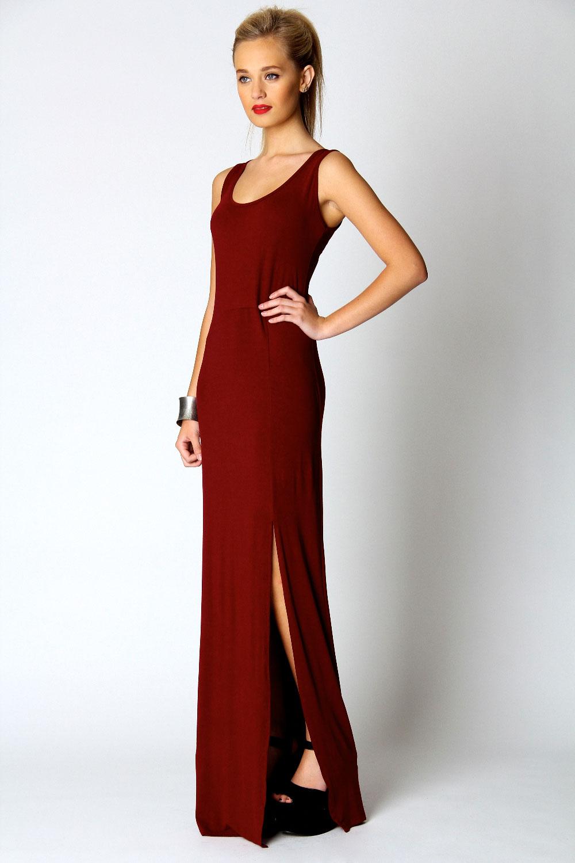 Boohoo Womens Ladies Cameron Scoop Neck Front Split Maxi Dress  eBay