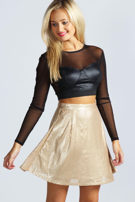 Boohoo Emma Sequin High Waist Short Skater Skirt | eBay