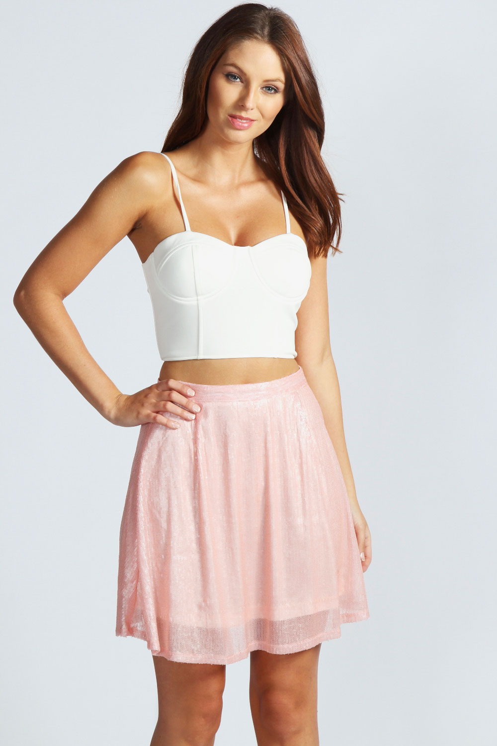 Boohoo Emma Sequin High Waist Short Skater Skirt | eBay